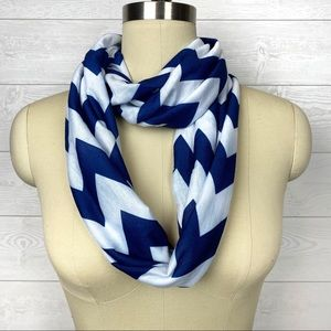 Navy Blue & White Chevron Infinity Circle Scarf